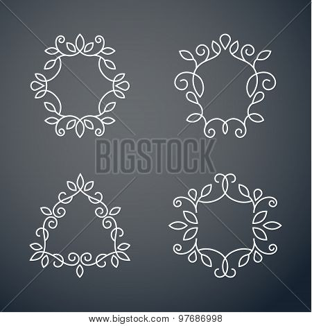 Set of outline monogram 01