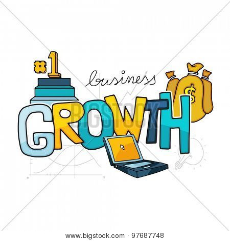 Glossy colorful text Growth with business elements includes money bag, laptop and podium.