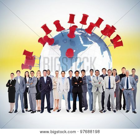 Business people standing up against pins showing locations on earth