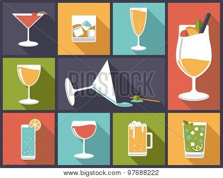 Alcoholic drinks vector illustration. Horizontal flat design illustration with various alcoholic drinks and cocktails