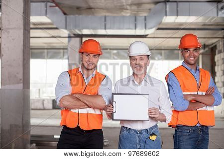 Self-confident construction team is ready to work