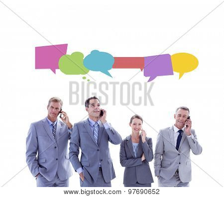 Employees using their mobile phone against speech bubbles