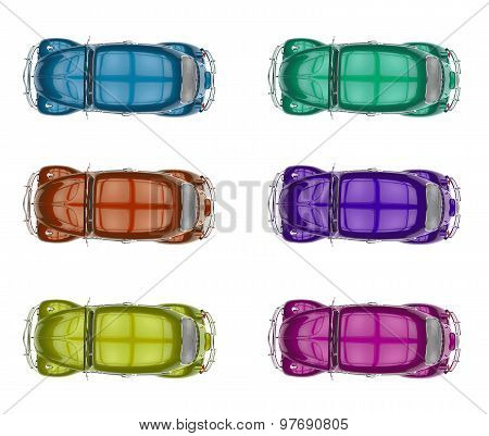 Collection Of Generic Colorful Old Cars