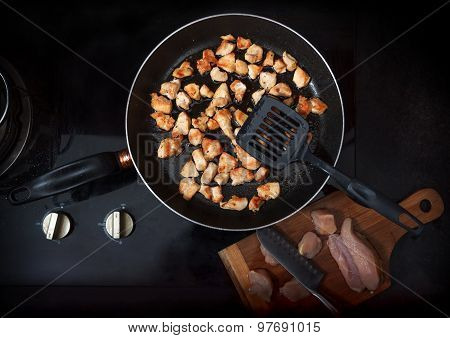 Chopped Chicken Fillet Fried On Frying Pan