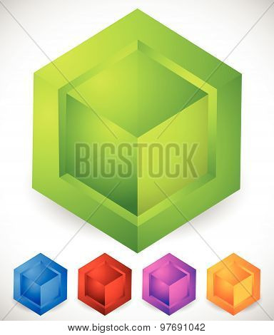 Abstract Isometric Cube Icons. Generic, Modern Vector Icons.