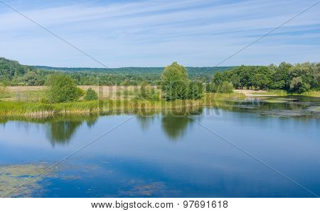 Summer landscape with Vorskla river in central Ukraine