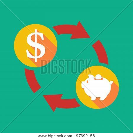 Exchange Sign With A Dollar Sign And A Piggy Bank