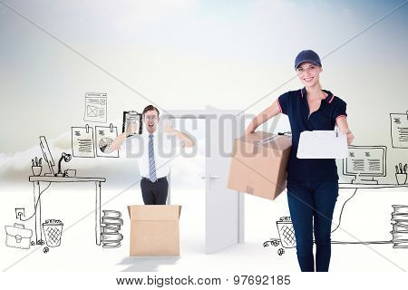 Happy delivery woman holding cardboard box and clipboard against doodle office in clouds with door