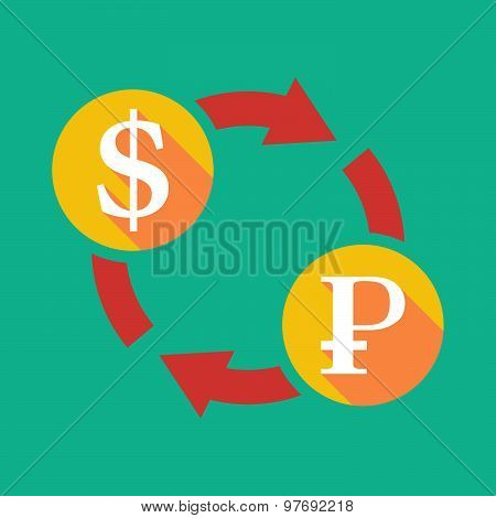 Exchange Sign With A Dollar Sign And A Ruble Sign