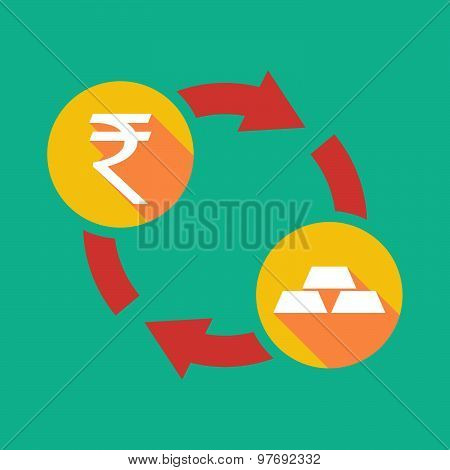 Exchange Sign With A  Rupee Sign And Gold Bars