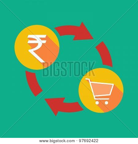 Exchange Sign With A  Rupee Sign And A Shopping Cart