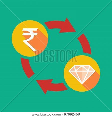 Exchange Sign With A  Rupee Sign And A Diamond