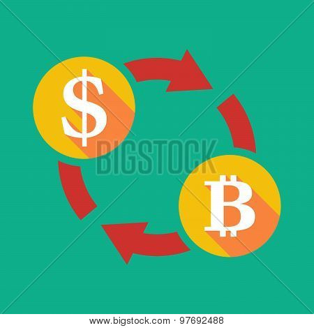 Exchange Sign With A Dollar Sign And A Bit Coin Sign