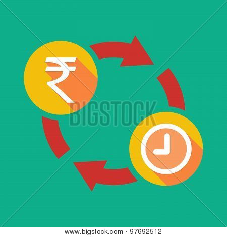 Exchange Sign With A  Rupee Sign And A Clock