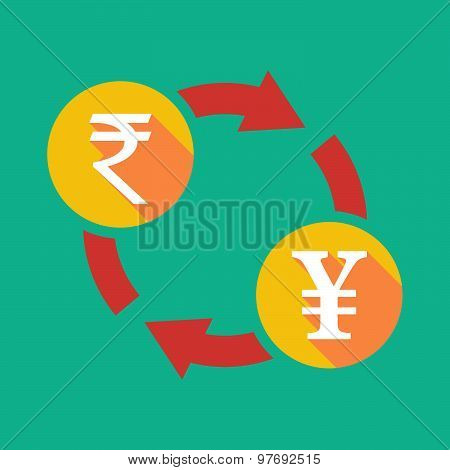Exchange Sign With A  Rupee Sign And A Yen Sign