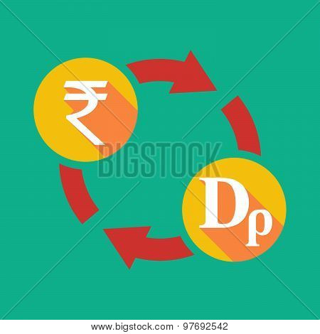 Exchange Sign With A  Rupee Sign And A Drachma Sign