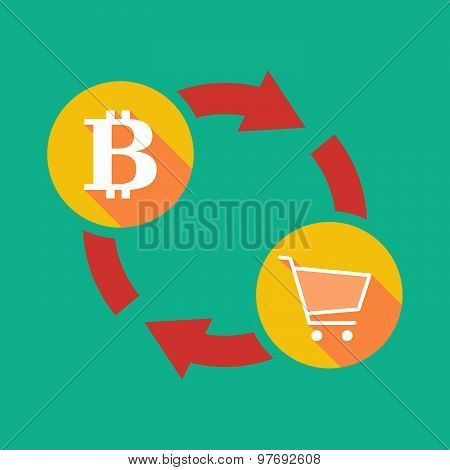 Exchange Sign With A  Bit Coin Sign And A Shopping Cart
