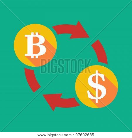 Exchange Sign With A  Bit Coin Sign And A Dollar Sign