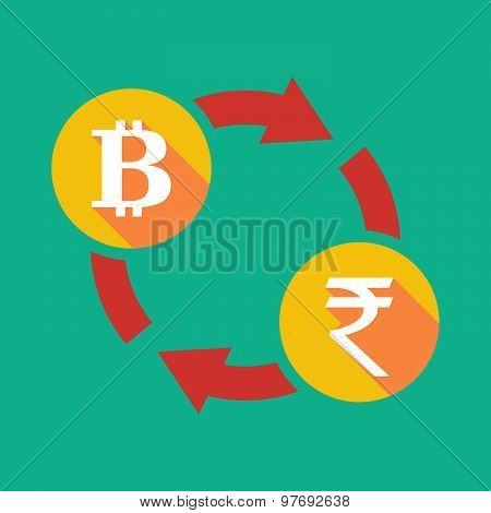 Exchange Sign With A  Bit Coin Sign And A Rupee Sign