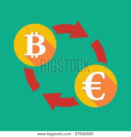 Exchange Sign With A  Bit Coin Sign And An Euro Sign