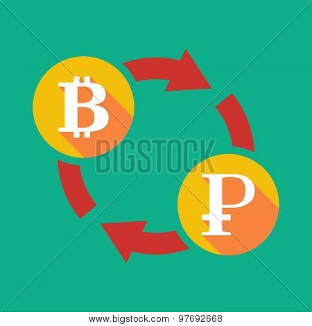 Exchange Sign With A  Bit Coin Sign And A Ruble Sign