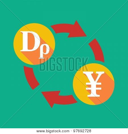 Exchange Sign With A Drachma Sign And A Yen Sign
