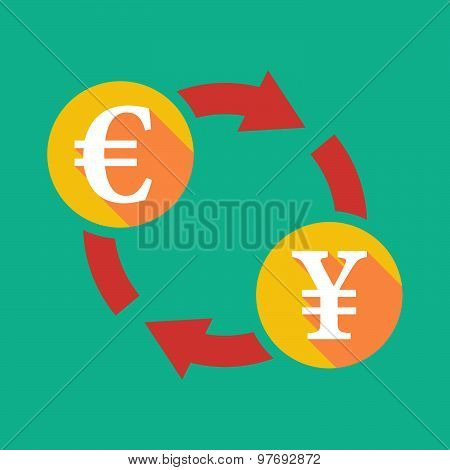 Exchange Sign With An Euro Sign And  A Yen Sign