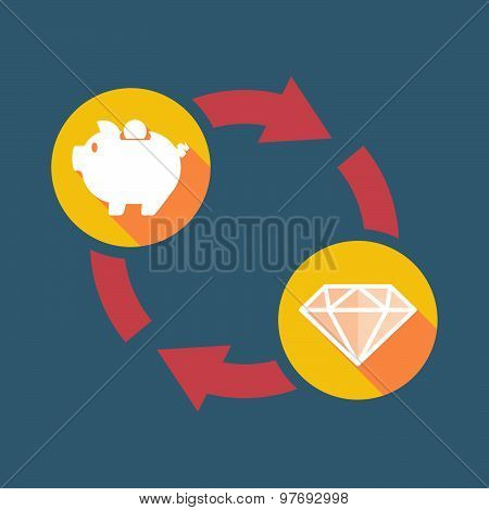 Exchange Sign With A  Piggy Bank And A Diamond