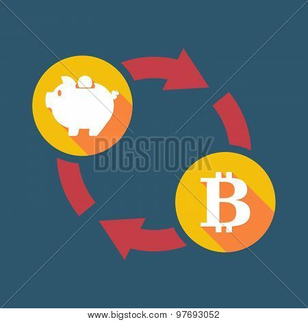 Exchange Sign With A  Piggy Bank And A Bit Coin Sign