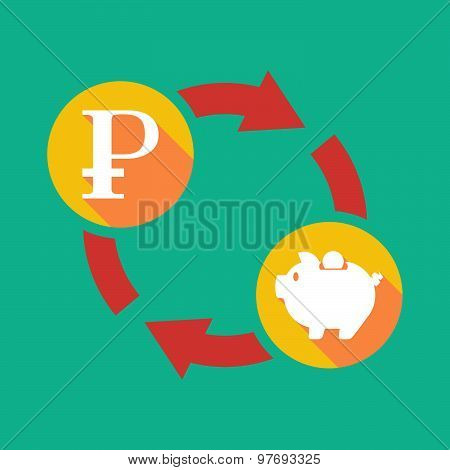Exchange Sign With A Ruble Sign And A Piggy Bank