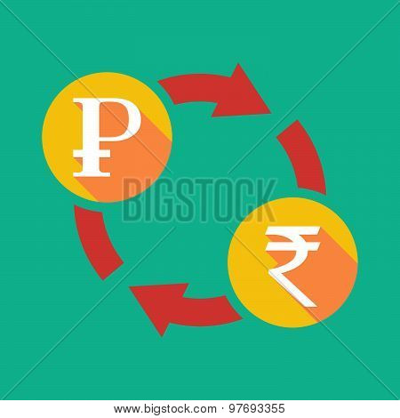 Exchange Sign With A Ruble Sign And A Rupee Sign