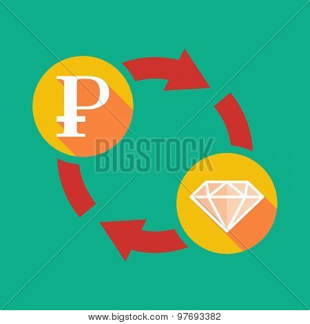 Exchange Sign With A Ruble Sign And A Diamond