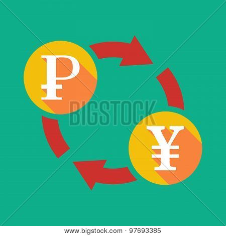 Exchange Sign With A Ruble Sign And A Yen Sign