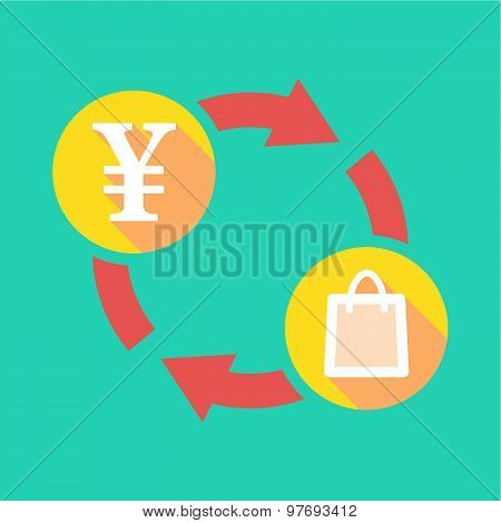 Exchange Sign With A Yen Sign And A Shopping Bag