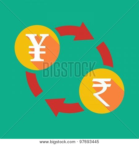 Exchange Sign With A Yen Sign And A Rupee Sign