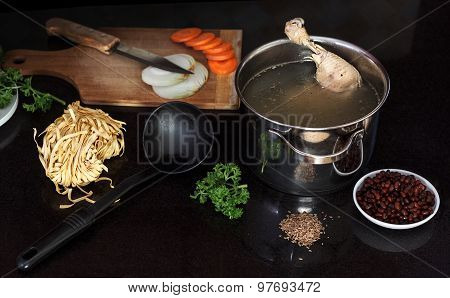 Chicken Soup with Fresh Vegetables, Noodles And Beans
