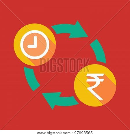 Exchange Sign With A Clock And A Rupee Sign