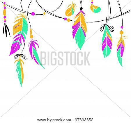 Bright Hand Drawn Feathers And Beads On White Background.