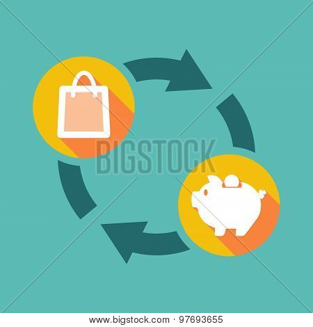 Exchange Sign With A Shopping Bag And A Piggy Bank