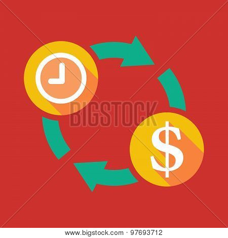 Exchange Sign With A Clock And A Dollar Sign