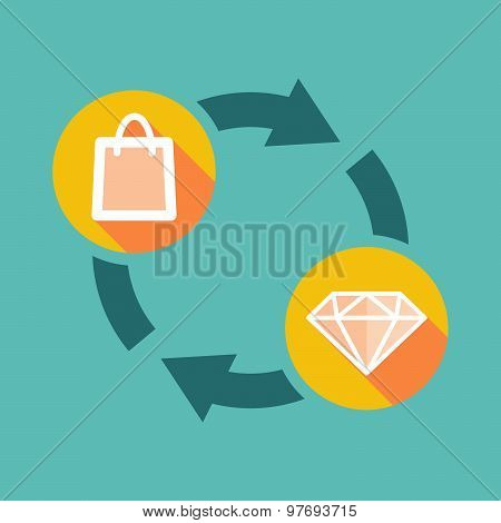 Exchange Sign With A Shopping Bag And A Diamond