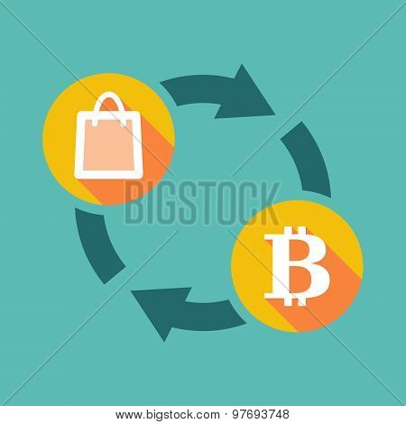 Exchange Sign With A Shopping Bag And A Bit Coin Sign