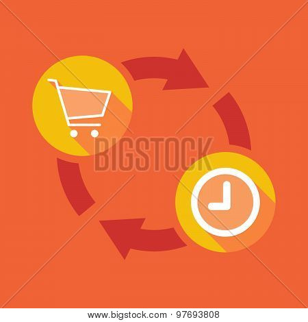 Exchange Sign With A Shopping Cart And A Clock