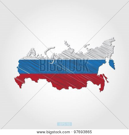Sketch Design Flag-Map of Russia
