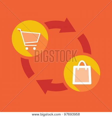Exchange Sign With A Shopping Cart And A Shopping Bag