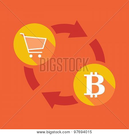 Exchange Sign With A Shopping Cart And A Bit Coin Sign