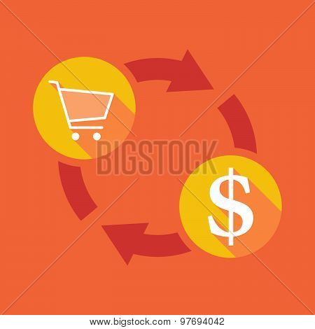 Exchange Sign With A Shopping Cart And A Dollar Sign