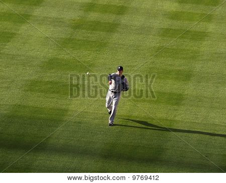 New York Yankees Aj Burnett Throws Ball To Warm Up Before Game