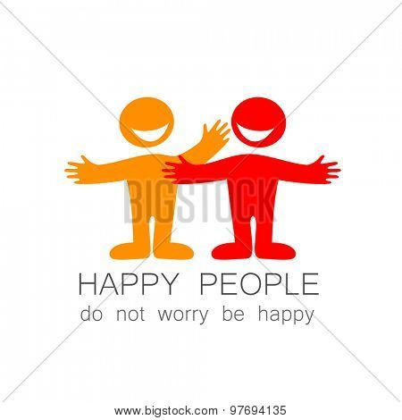 Happy people - template mark. The idea of social logo.
