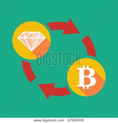 Exchange Sign With A Diamond And A Bit Coin Sign
